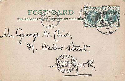 GB/IRELAND :1901 Jennings of Cork Postcard to New York-CORK s/ring on QV stamps
