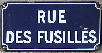Old French enamel street sign plate road name plaque fusiliers soldiers Verdun