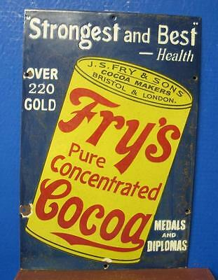 Awesome 1930's FRY'S CONCENTRATED COCOA Porcelain Sign