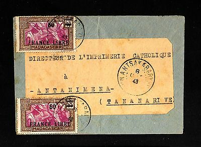 13587-MADAGASCAR-OLD COVER WANTSAKABARY to TANANARIVE.1943.WWII.FRENCH Colonies.