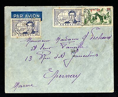 13469-SENEGAL-AOF-AIRMAIL COVER DAKAR to EPERNAY(france)1944.WWII.French colonie