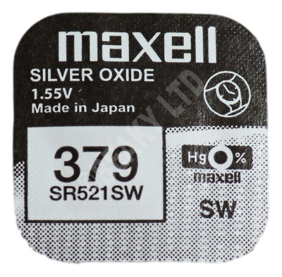 GENUINE Maxell 379 SR521SW Silver Oxide Watch Battery 1.55v [1-pack]