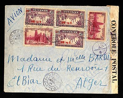 13567-SENEGAL-AOF-AIRMAIL CENSOR COVER MAN to ALGER (algeria)1944.WWII.French