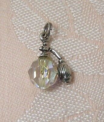 Vintage PERFUME SPRAY ATOMIZER ~ GLASS BEAD Sterling Silver Charm