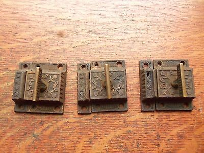 "Three Matching Antique Fancy Victorian Cabinet Latches ""Windsor"" c1885 R&E"