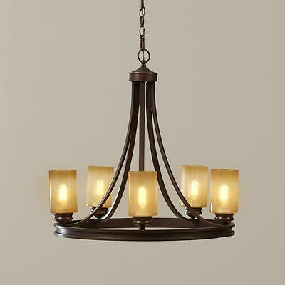 Rustic Style 5 Light Chandelier Glass Pillar Candle Style Shades Bronze