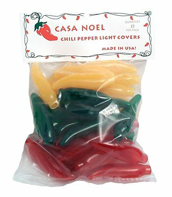 Red, Green, and Yellow Chili Pepper Christmas Light Covers Set of 35