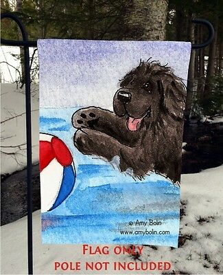 Black NEWFOUNDLAND dog Summer Fun 12 By 18 Garden flag no pole By Amy Bolin
