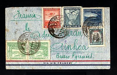 13437-CHILE-AIRMAIL COVER CONCEPCION to AINHOA (france)1936.CHILI.Aerien.
