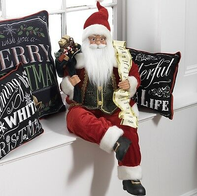 Sitting Santa Figure w Christmas List and Bag of Toys rzchtw 3615506 NEW