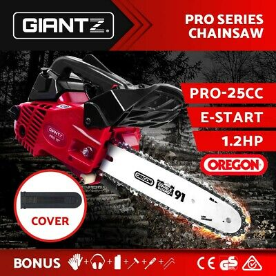 "NEW 58cc Commercial Petrol Chainsaw 20"" Bar E-Start 2*Chains Saw Tree Pruning"