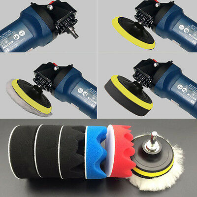 7PCS 3 inch Polishing Buffer Sponge Pad Set + Drill Adapter For Car Polisher UY