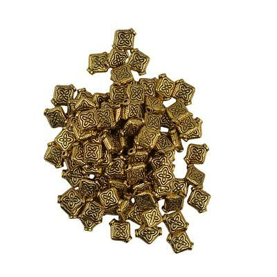 100pcs Flat Square Flower Spacer Bead Jewelry Making Findings Vintage Gold