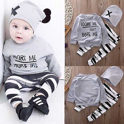 Toddler Newborn Baby Boy Long Sleeve Tops +Pants Hat 3PCS Outfits Set Clothes