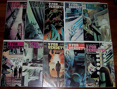 V FOR VENDETTA #1-10 NM- Full Set! DC 1988 Alan Moore! Great Series! Cool Movie!