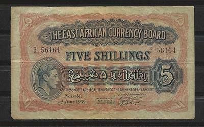 EAST AFRICA - P26Aa - 1.6.1939 Five Shillings - splits in heavy watermark - VG-F