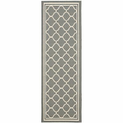 Safavieh Indoor/ Outdoor Courtyard Anthracite/ Beige Rug (2'4 x 16')