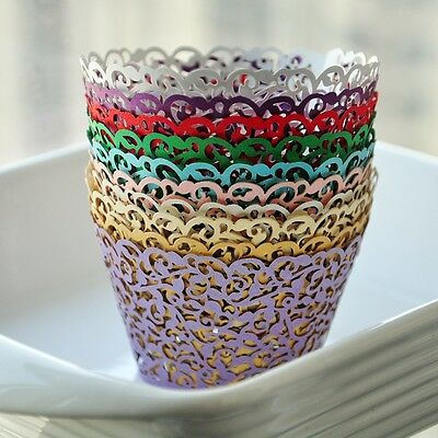 UK Cake Cupcake Lace Wrappers Pearl Paper Holders Wedding Christmas Party Favor