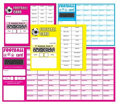 FOOTBALL SCRATCH CARDS 20,30,40,80 Team Fundraising Scratch Panel Charity Event