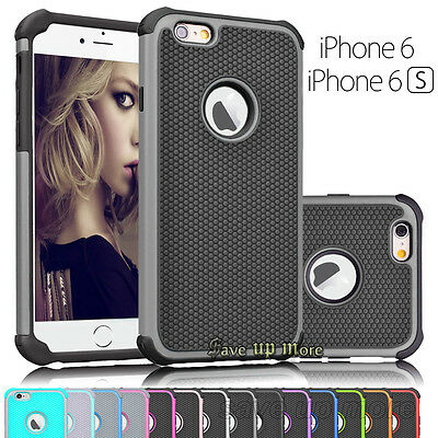 Shockproof Hybrid Rugged Rubber Defender Case Cover For Apple iPhone 6 6s & Plus