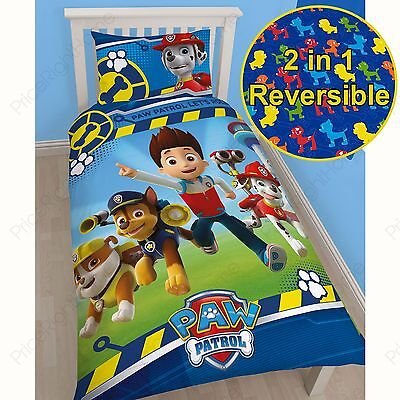 Paw Patrol Rescue Single Duvet Cover Set Reversible Bedding Kids New