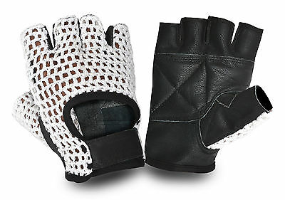 Real Leather Weight Lifting Bus Bike Driving Gloves Padded Palm Crochet Back
