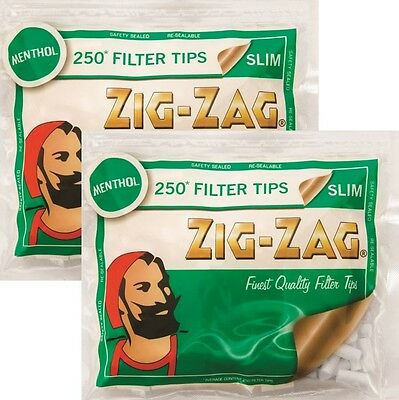 500 x Zig-Zag Slim Filters Menthol Finest Quality Rolling Tobacco Cigarette Tips