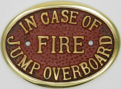 Lockmaster In Case Of Fire Jump Overboard Canal Brass Bridge Plaque Narrowboat