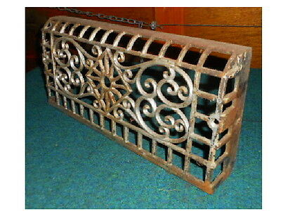 VINTAGE CAST IRON BASEBOARD HEATING GRATE AIR VENTS ORNATE art deco
