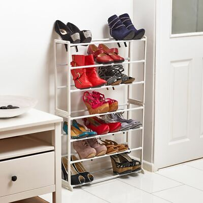 Vinsani Shoe Rack With Plastic Plated Tubing & Plated Steel Frame White 7 Tier