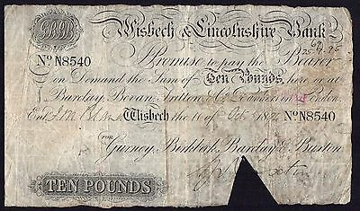 1894 WISBECH & LINCOLNSHIRE BANK £10 BANKNOTE * N 8540 * VG * Outing 2382aa *