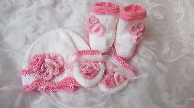 Hand Knitted Baby Hat Mitten And Bootee Set Shades Of Pink And White Age Newborn