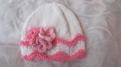 Hand Knitted Baby Beanie Hat White Wavy Edge With Pink Trim Flowers Nb- 18/24 Mt