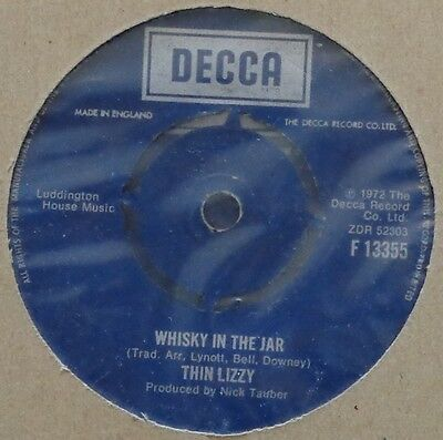 """HB3 - Thin Lizzy - Whisky in the Jar F 13355 UK 7"""" in neutral sleeve Decca 1972"""