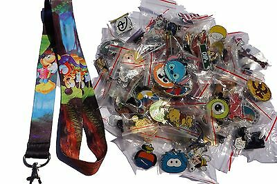 Disney World Pin Trading Lot Lanyard Starter Set Mickey Minnie Forest w/ 25 Pins