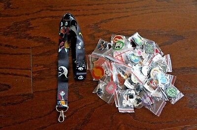 Disney World Pin Trading Lot Lanyard Starter Set NBC Jack Sally Black w/ 25 Pin