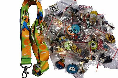 Disney World Pin Trading Lot Lanyard Starter Set Green Goofy w/ 25 Pins