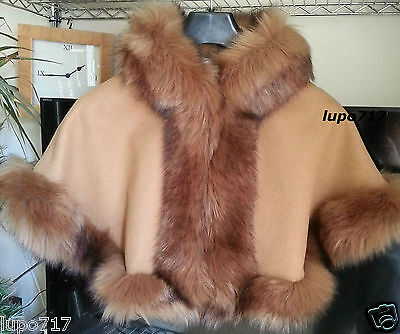 Camel Kid Girl Long Fluffy Faux Fur Hooded Winter Cape Coat Poncho Small 2-4 Yrs