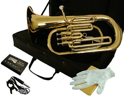 EUPHONIUM  key of Bb - Gold Lacquered Brass - FREE Case Free Bonus TUNER