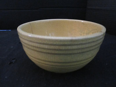 "Vintage Yellow McCoy Pottery Ceramic Ribbed Small 6"" Mixing Bowl"