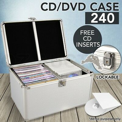 Aluminium CD DVD Case Storage Box Bluray Box 240 Discs SL Folder Holder NEW