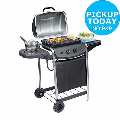2 Burner Propane Gas Steel BBQ with Side Burner - Black - From Argos