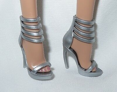 Shoes ~Barbie Basic Doll Model Muse Silver Sandals The Look Mattel High Heel