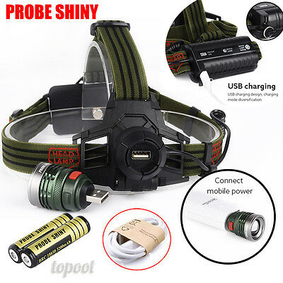 10000LM XM-L T6 LED Headlamp Head Light USB Rechargeable Headlight+2x Battery
