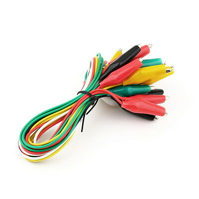 10pcs Double-ended Test Leads Alligator Crocodile Roach Clip Jumper Wire FB