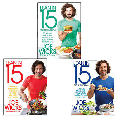 Lean in 15  Collection 3 Books Set By Joe Wicks (The Sustain Plan) Paperback New
