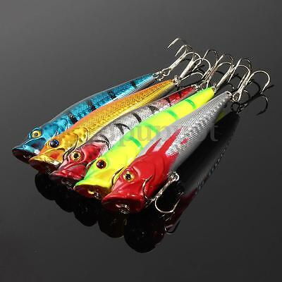 UK 5pz Popper Esche Artificiali Pesca Spinning Fiume Laghi Minnow Lures Tackle