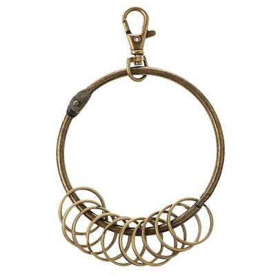 Vintage Retro Alloy Clasp Antique Bronze Tone Round Large Keychain Key Rings
