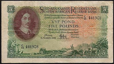 1950 SOUTH AFRICA £5 BANKNOTE * C/14 441908 * aVF * P-97a *