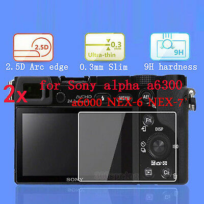 2x hard Tempered Glass Screen Protector film for Sony Alpha a6300 a6000 NEX 6 7